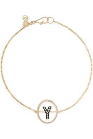 ANNOUSHKA 18kt yellow gold diamond initial Y bracelet