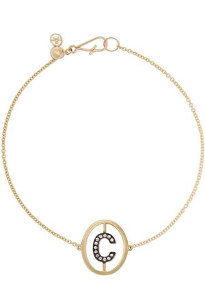ANNOUSHKA 18ct yellow gold diamond initial C bracelet