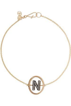ANNOUSHKA 18kt yellow gold diamond initial N bracelet