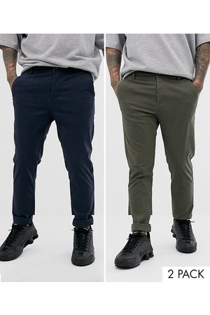 ASOS 2 pack skinny chinos in khaki & navy save-Multi