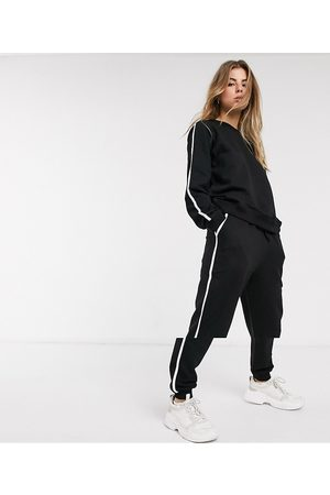 ASOS Ženy Teplakovka - Tracksuit sweat / basic jogger with tie with contrast binding in organic cotton-Black