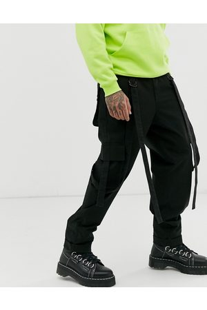 ASOS Cargo trousers in black with strapping