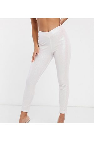 ASOS ASOS DESIGN Petite Rivington high waist jeggings with V front in glitter in pale pink