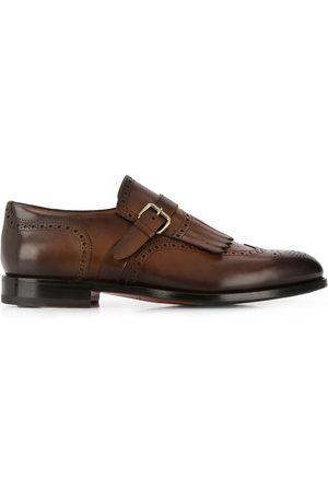 santoni Perforated single-buckle shoes