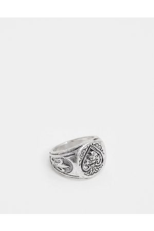 ASOS Signet ring with ace detail in burnished silver tone