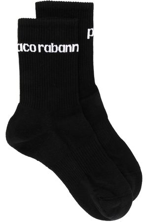 Paco rabanne Ribbed knit logo socks