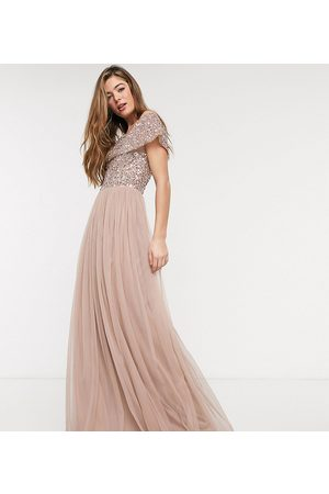 Maya Ženy Maxi - Bridesmaid bardot maxi tulle dress with tonal delicate sequins in taupe blush-Brown