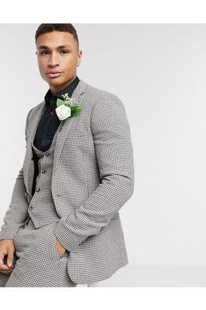 ASOS Wedding super skinny suit jacket in grey wool blend micro houndstooth