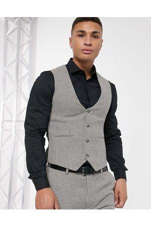 ASOS Muži Společenské vesty - Wedding super skinny suit waistcoat in grey wool blend micro houndstooth