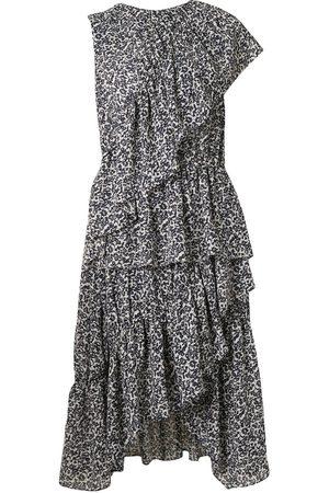 GOEN.J Floral print asymmetric ruffled dress