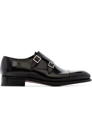 santoni Black double strap leather monk shoes