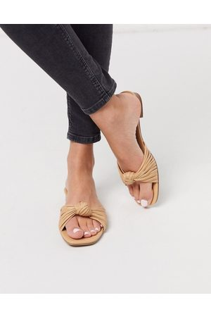 ASOS Freddie knotted mule sandal in camel-Yellow