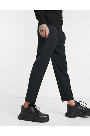 ASOS Muži Chino - Smart tapered trousers in black