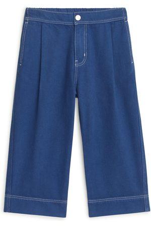 ARKET Wide Cotton Lyocell Trousers - Blue