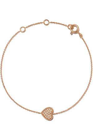 AS29 18kt rose gold Mye heart beading pave diamond bracelet