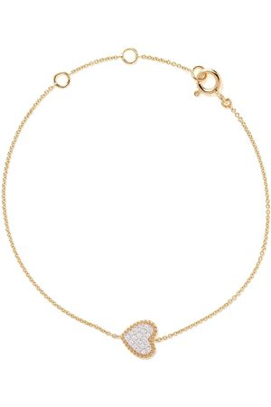 AS29 18kt yellow gold Mye heart beading pave diamond bracelet