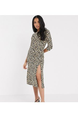 River Island Leopard print midi dress in brown-Multi
