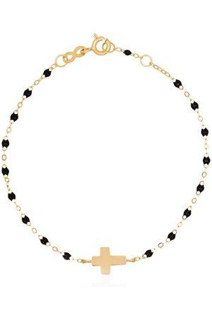 GIGI CLOZEAU 18kt yellow gold beaded cross bracelet