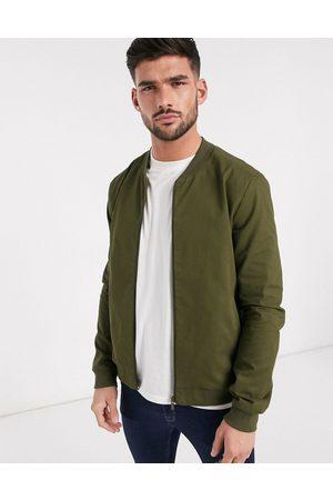 New Look Lightweight cotton bomber jacket in khaki-Green