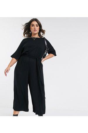 ASOS ASOS DESIGN curve tie waist jumpsuit-Black