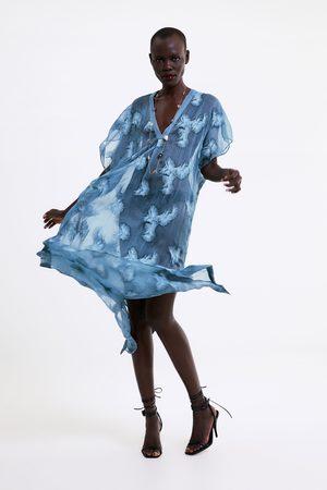 Zara Poloprůhledná tunika s výšivkami