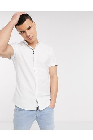 River Island Oxford shirt in white with embroidery