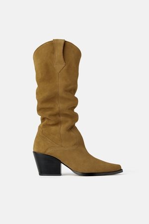 Zara Vysoké boty s podpatkem cowboy ze štípaného semiše join life