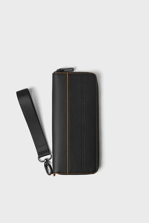 Zara černá peněženka xl s oranžovými detaily