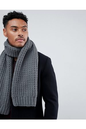 ASOS Knitted scarf in grey recycled polyester