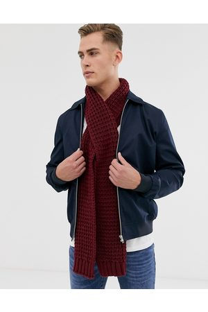 ASOS Knitted scarf in burgundy recycled polyester