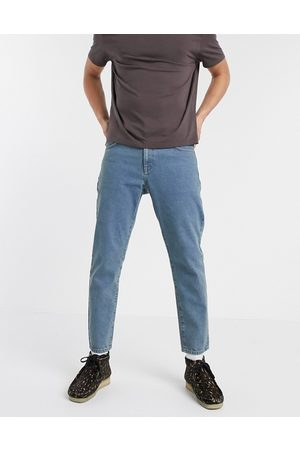 ASOS Muži Rovné nohavice - Classic rigid jeans in tinted mid wash blue