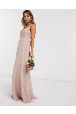 ASOS Bridesmaid cami maxi dress with ruched bodice and tie waist-Pink