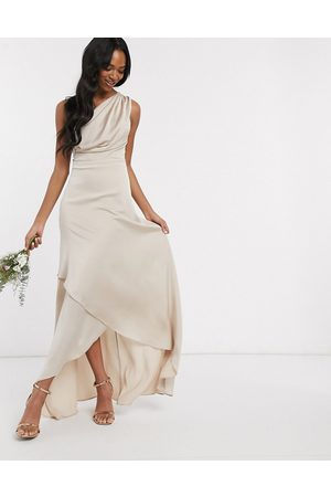 TFNC Bridesmaid one shoulder maxi dress in mink-Brown