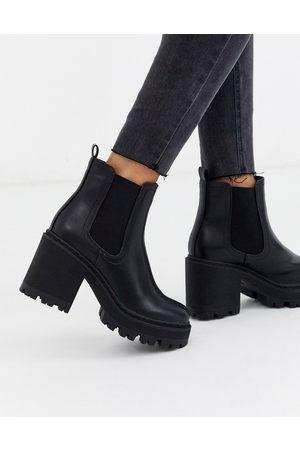 Public Desire Ženy Kotníkové - Fuzzy chunky heeled ankle boot in black