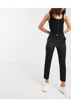 ASOS Ultimate linen cigarette trousers-Black