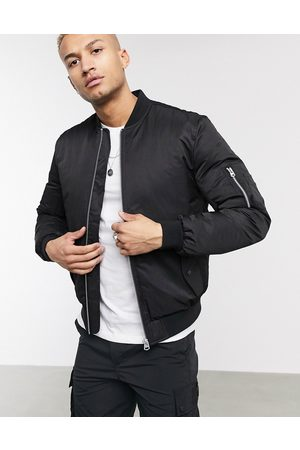 ASOS Muži Bombery - Quilted bomber jacket with MA1 pocket in black