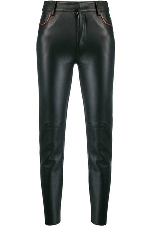 Ami Leather cropped skinny trousers