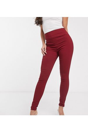 ASOS ASOS DESIGN Tall high waist trousers in skinny fit-Red