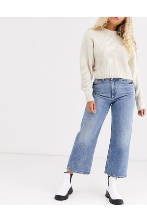 Monki Ženy Široké nohavice - Mozik wide leg organic cotton jeans in vintage blue