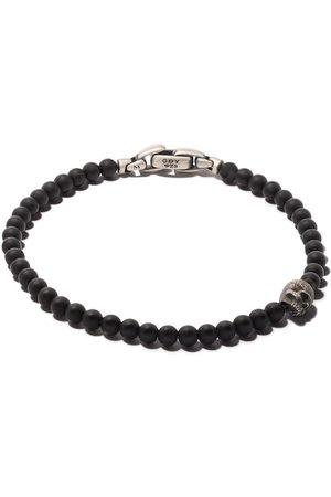 David Yurman Spiritual Beads black onyx and silver skull bracelet