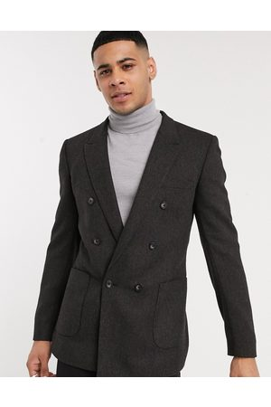 ASOS Skinny double breasted blazer in charcoal wool mix twill-Grey