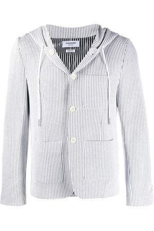 Thom Browne Seersucker striped hooded blazer