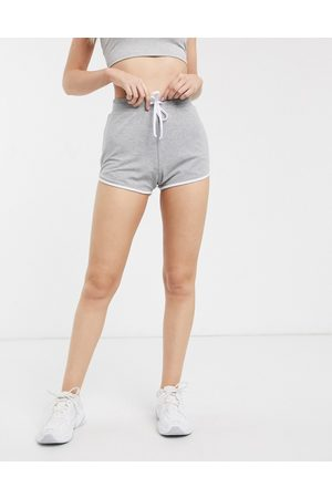 ASOS Ženy Kraťasy - Sporty runner short with contrast bind-Grey
