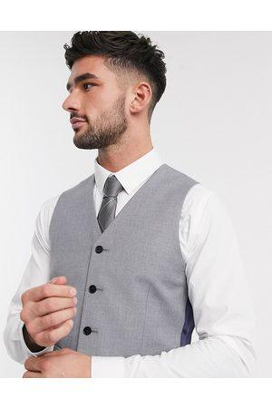 ASOS Slim suit waistcoat in mid grey-Navy