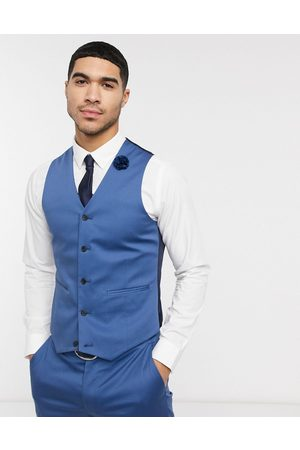 ASOS Wedding slim suit waistcoat in blue stretch cotton
