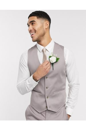 ASOS Wedding skinny suit waistcoat in grey stretch cotton