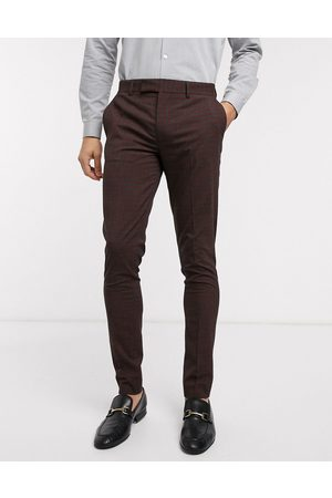 ASOS Muži Úzké nohavice - Wedding skinny suit trousers in mini check in burgundy and grey-Red
