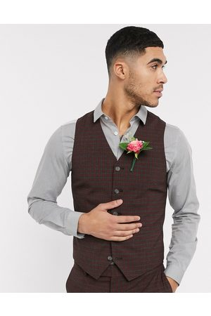 ASOS Wedding skinny suit waistcoat in mini check in burgundy and grey-Red