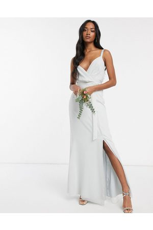 Maids to Measure Cami maxi dress with split in chiffon-Grey