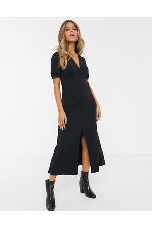 ASOS Ultimate midi tea dress with collar in black